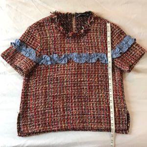 ZARA multi color tweed & fringe shirt sleeve top